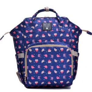 Рюкзак-сумка для мамы и малыша синий с котами