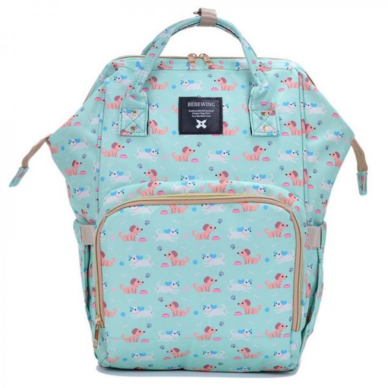 Рюкзак-сумка для мамы и малыша салатовый с собачками