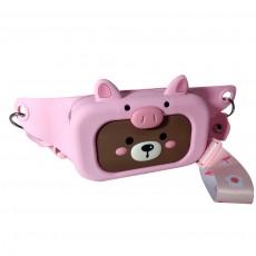 Сумка на пояс Q UNCLE медвежонок в розовом