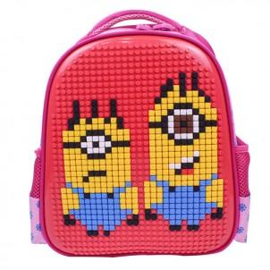 Пиксельный рюкзак 32*24*10 см, красно-розовый