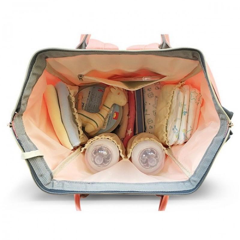 Рюкзак-сумка для мамы и малыша розовый с цветами