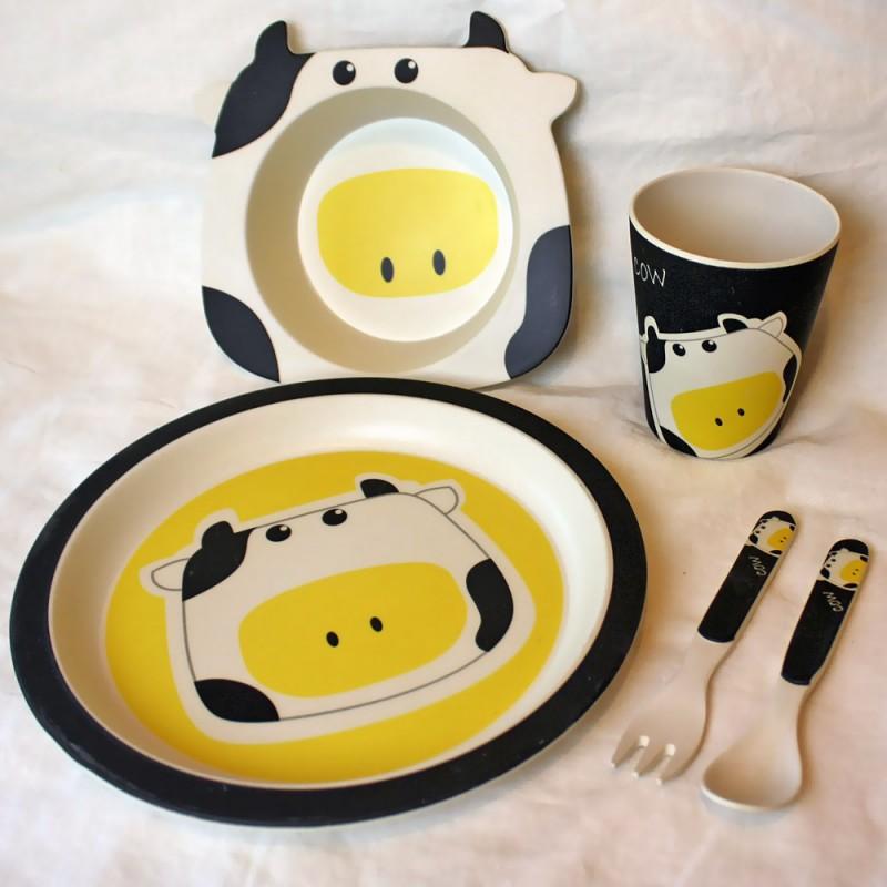 Детский обеденный набор посуды из бамбука «Бурёнка»
