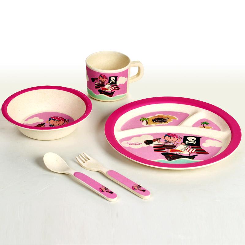 Детский обеденный набор посуды из бамбука «Пираты» розовый