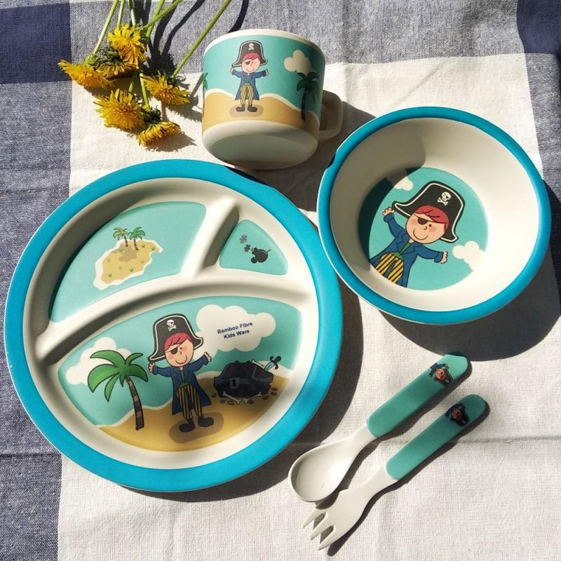Детский обеденный набор посуды из бамбука «Пираты» синий