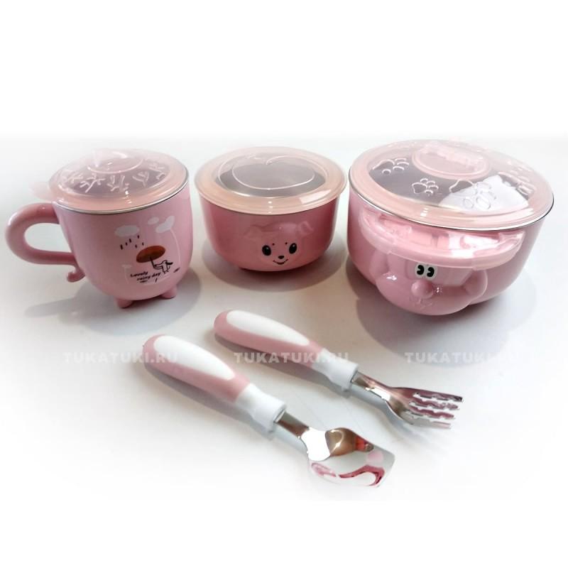 """Детская посуда из 5 предметов """"Дождик"""", розовая"""