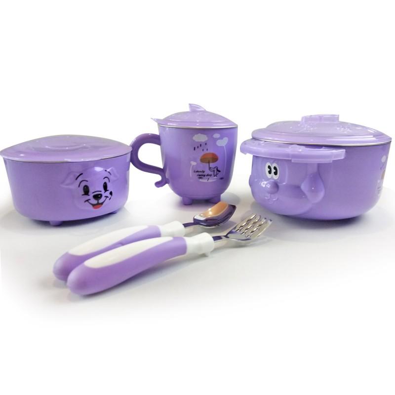 """Детская посуда из 5 предметов """"Дождик"""", фиолетовая"""