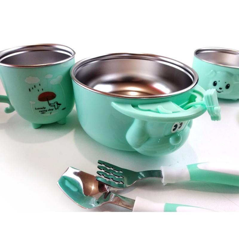 """Детская посуда из 5 предметов """"Дождик"""", зеленая"""