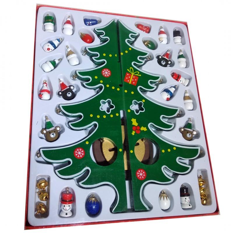 Деревянная елка с игрушками, 6 граней, 30 см