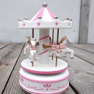 Музыкальная новогодняя игрушка Карусель, белая