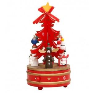 Музыкальная новогодняя елочка-карусель, красная