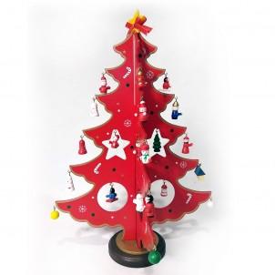 Деревянная елка с игрушками, красная, 4 грани, 32 см