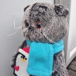 Кот Басик Basik в шарфике и с пигвином