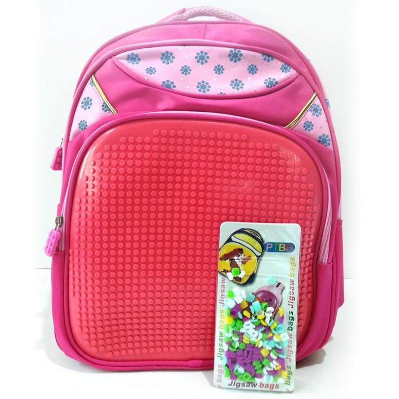 Пиксельный рюкзак 41*30*18 см, красно-розовый