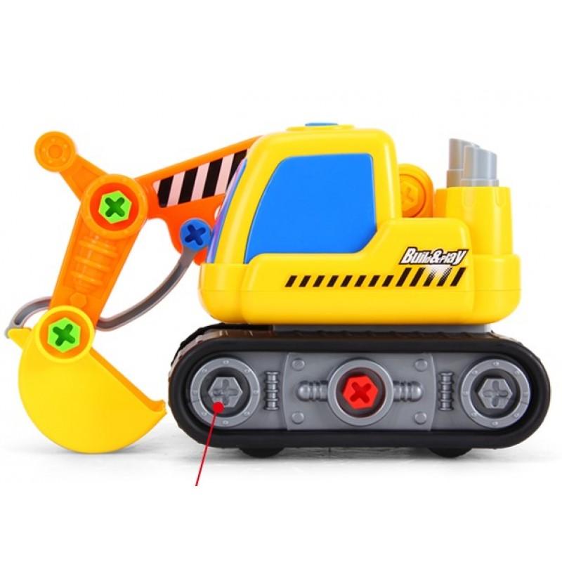 Экскаватор, винтовой конструктор Build and Play с шуруповертом, ездит