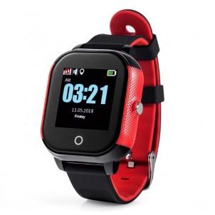 Водонепроницаемые детские умные GPS часы Wonlex GW700S черные с красным