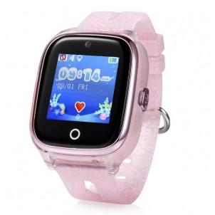 Водонепроницаемые детские умные GPS Часы Wonlex KT01 розовые