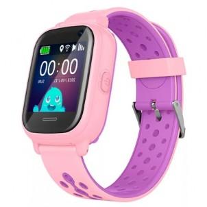 Водонепроницаемые детские умные GPS Часы Wonlex KT04 розовые